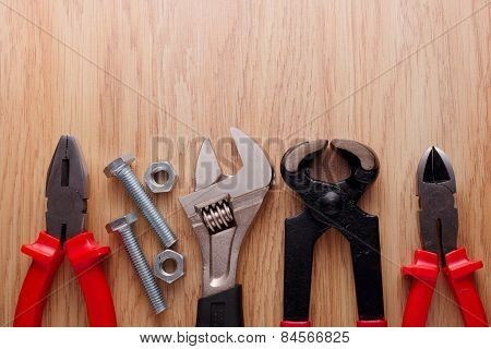 Bolts And Nuts With A Set Of Plumbing Tools