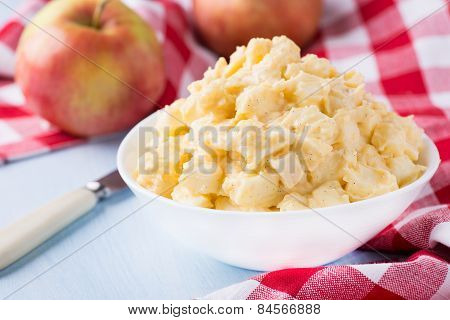 Apples With Vanilla Custard In A Bowl