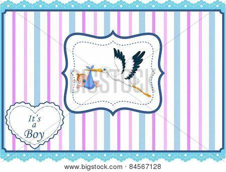 Cartoon stork with baby boy card