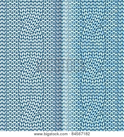 Blue knitted pattern with braids