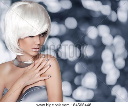 White Bob Hairstyle. Fashion Blond Girl. Glamour Woman Portrait With Short Hair, Makep, Manicured Na