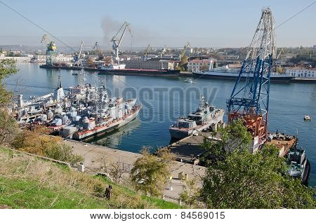 Warships Of The Russian Navy At The Pier