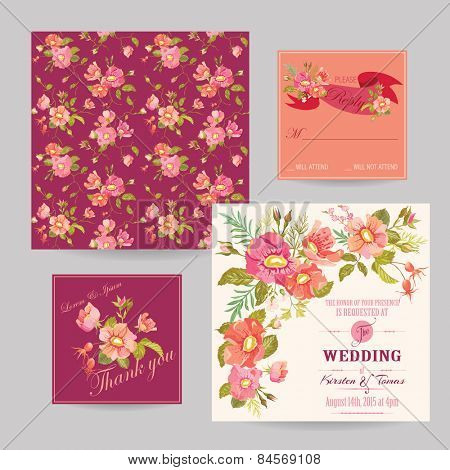 Set of Wedding Floral Invitation Cards - Save the Date, RSVP, Thank you - in vector