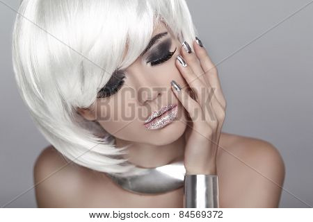 White Short Hair. Eye Makeup. Fashion Blond Girl. Beauty Portrait Woman. Isolated On Grey Background