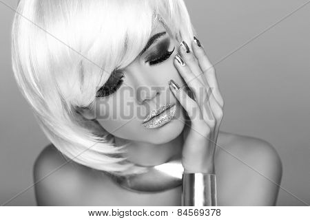 Glamour Fashion Woman Portrait. Blond Girl With White Short Hair Isolated On Grey Background.  Hairs