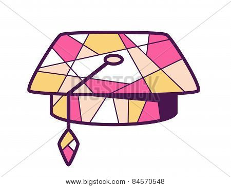 Vector Illustration Of Pink And Yellow Graduation Cap On Light Background.