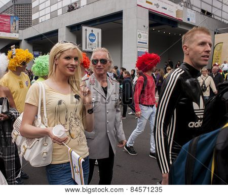 Attractive Blond Woman, During Gay Pride Parade