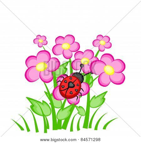 Cartoon Ladybug On Pink Flowers