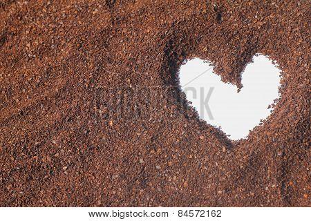 Heart Shape On Cocoa Powder