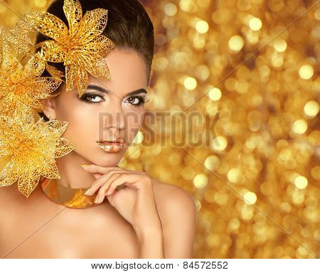 Beauty Makeup, Luxury Jewelry. Fashion Glamour Girl Model Portrait With Flowers Isolated On Golden L