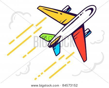 Vector Illustration Of Colorful Airplane Flying Right Up Among The Clouds Leaving A Trail On Light B