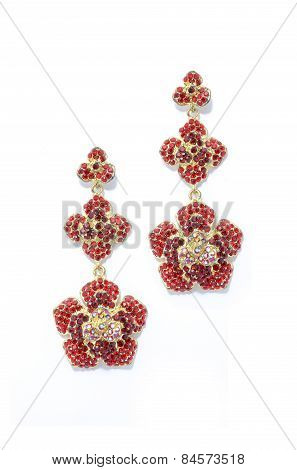 Earrings  Red Flowers On A White Background