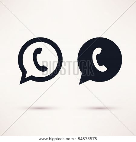 Two handset icons vector illustration flat style.