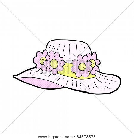 retro comic book style cartoon summer hat