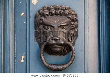 The close-up of an old door handle in a shape of lion head - Stock image