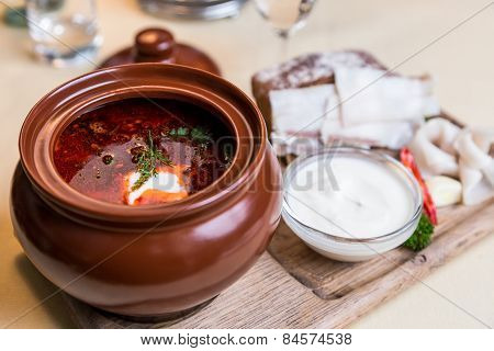 Restourant Serving Dish - Soup On Wooden Board On Table