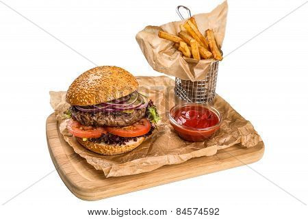 Restourant Serving Dish - Burger With Meat, Frying Potato On Wooden Board