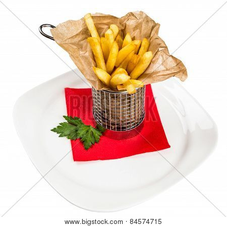 Restourant Serving Dish For Child`s Menu - Stick Potatos Roast Free On White Background