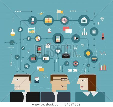 Business People Connect With Social Network