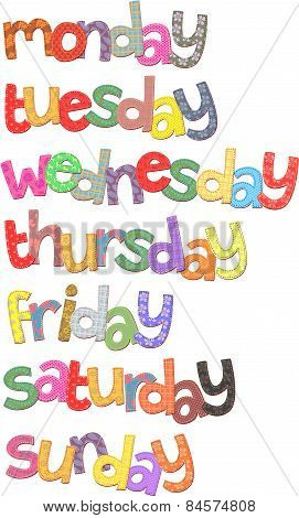 Week Days Text Clip Art