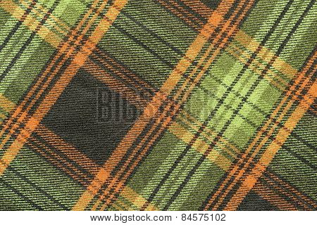 Woolen Fabric With An Slanting Checkered Pattern