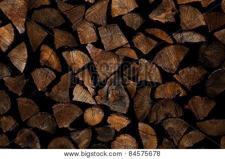 Chopped wood stack