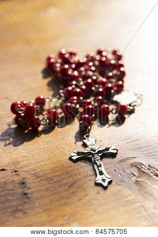 Rosary with red beads