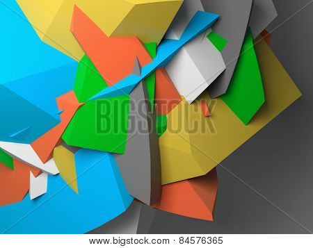 Abstract Colorful  Chaotic Polygonal Fragments On Gray
