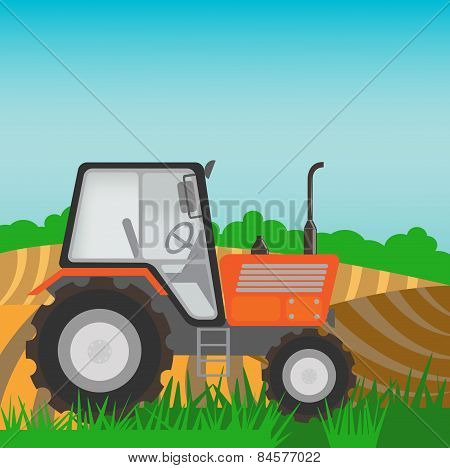 Rural Landscape With Orange  Tractor