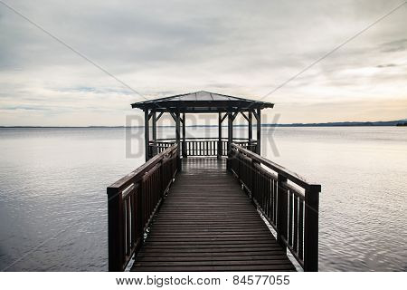 Wooden Gazebo On Lake Garda