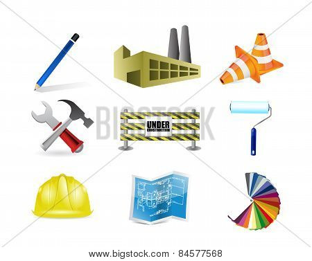 Architect Or Contractor Concept Icon Set