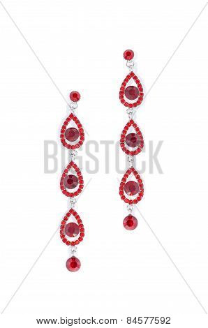 Earrings With Ruby On White Background
