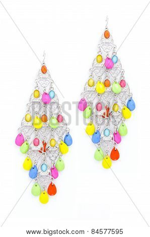 Earrings With Beads On A White Background
