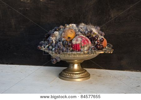 Antique Pedestal Dish Vase With Various Rotten Fruits
