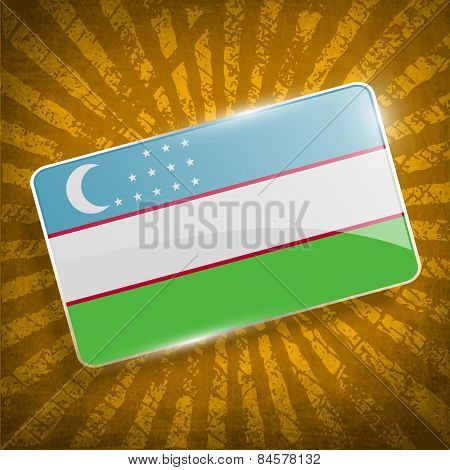 Flag Of Uzbekistan With Old Texture. Vector