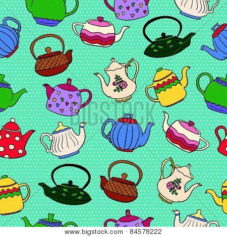 Seamless vector pattern with cute colorful freehand teapots on blue dotted background.
