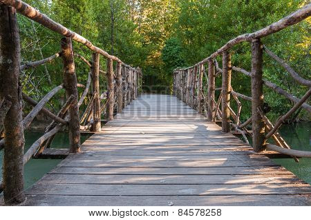 Wooden Bridge In A Park