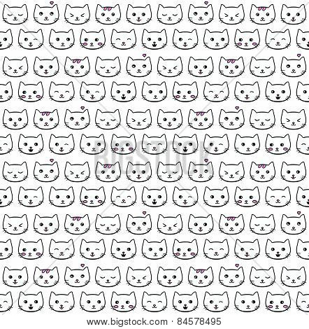 Seamless vector pattern with emotional cats
