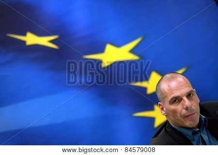 Greece's Finance Minister Yanis Varoufakis During A Joint Press Conference