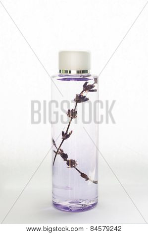 Lavender oil isolated on white