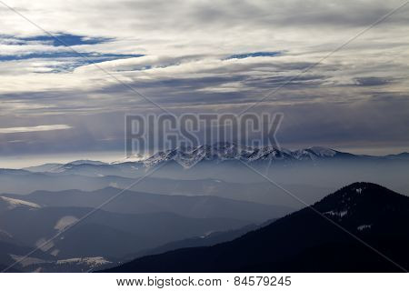 Mountains With Snow At Evening