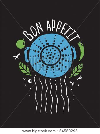 Bon Appetit Pasta Design with Colander and Lettering Colored on Black