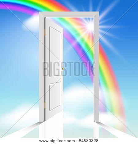 Heavenly doorway with rainbow