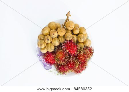 Lang sat or Long kong & Rambutan isolated on white background.