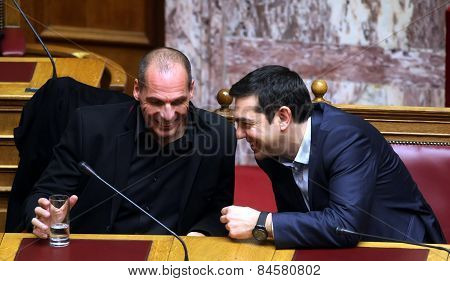 Alexis Tsipras Talks With Finance Minister Yanis Varoufakis
