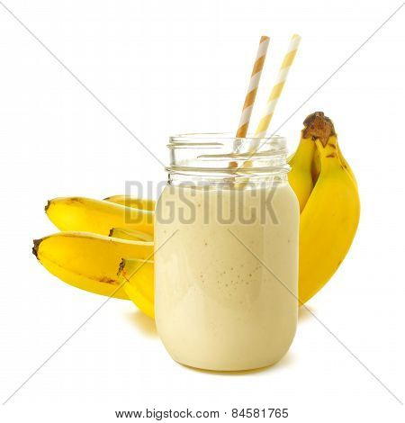 Smoothie in jar with bananas