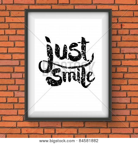 Text Design for Just Smile Concept on a Frame