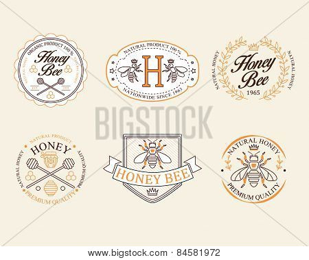 Honey and bees vector badges, labels for any use.