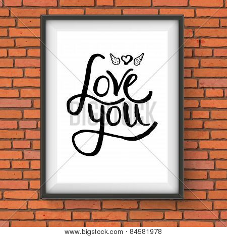 Black Text Design for Love You Concept on a Frame