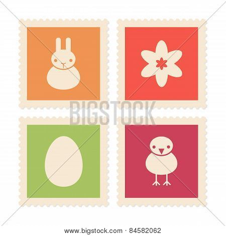 Easter Symbols On Postage Stamps